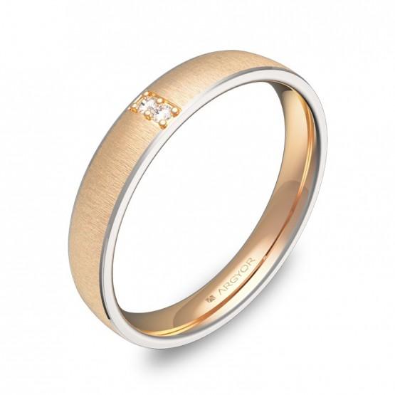 Alianza de boda con biseles 3,5mm oro bicolor con diamantes D3235T2BR