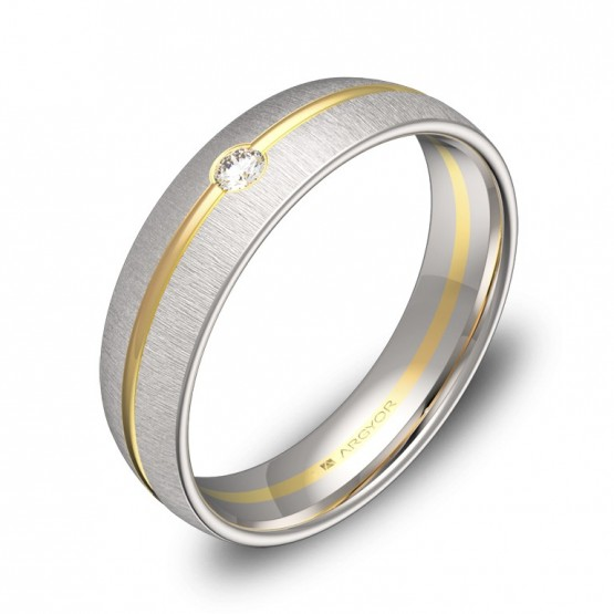 Alianza de boda en oro bicolor textura con diamante D3350T1BA