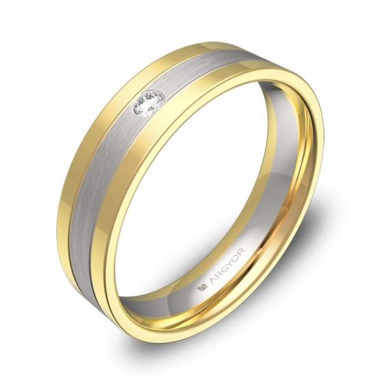 Alianza de boda con ranuras en oro bicolor con diamante D3450C1BA