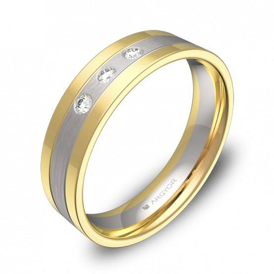 Alianza de boda con ranuras 5mm en oro bicolor 3 diamantes D3450C3BA