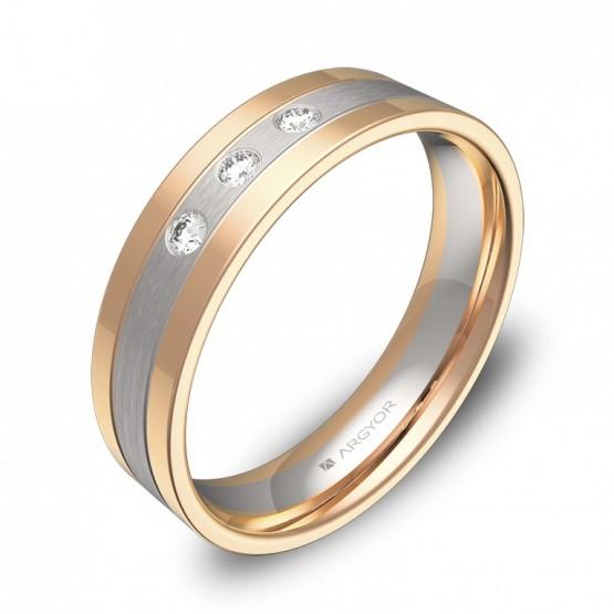 Alianza de boda con ranuras en oro bicolor con diamantes D3450C3BR