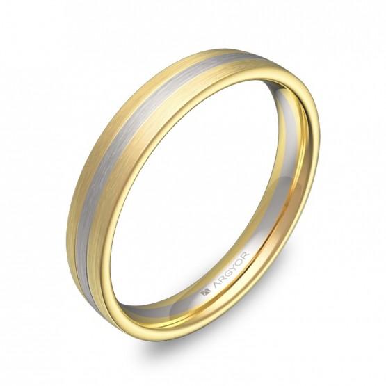 Alianza de boda de media caña con ranuras en oro bicolor D3535S00A