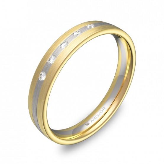 Alianza de boda 3,5mm oro bicolor satinado con diamantes D3535S5BA