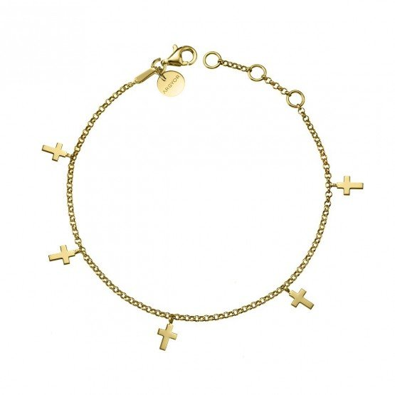 Pulsera de plata dorada con Cruces (4A8307304)
