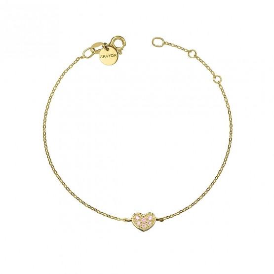 Pulsera oro Corazón con Zafiro rosa (76APU007ZR)