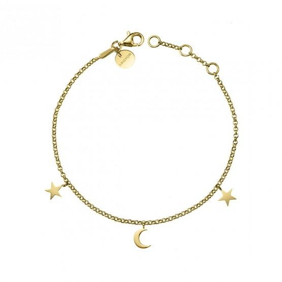 Pulsera de plata dorada Luna y Estrellas (4A8307300)