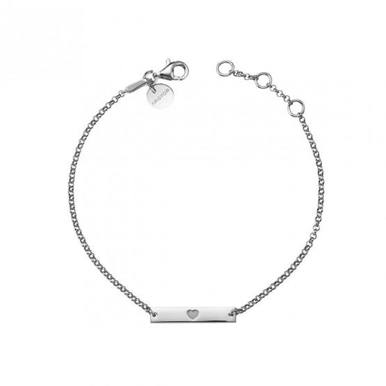 Pulsera de plata de ley 925 placa de corazón (4B8307306)