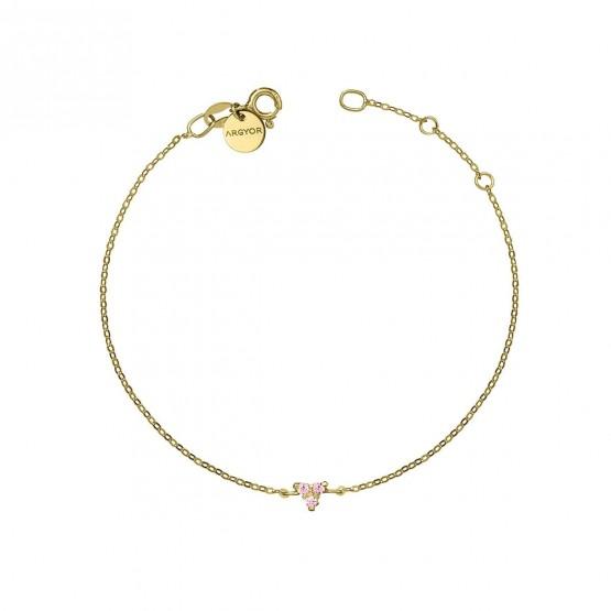Pulsera oro Triángulo con Zafiro rosa (76APU002ZR)
