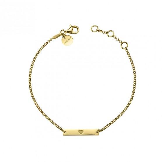 Pulsera de plata dorada placa corazón (4A8307306)