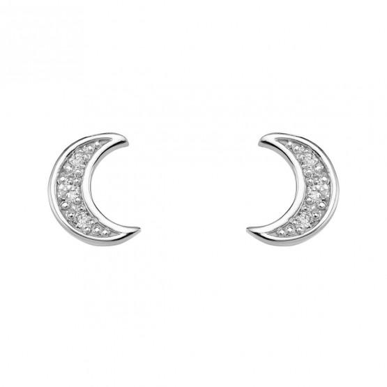 Pendientes Luna diamantes y oro blanco (76BPE004)