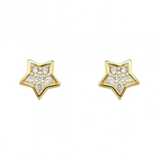 Pendientes Estrella diamantes y oro (76APE005)