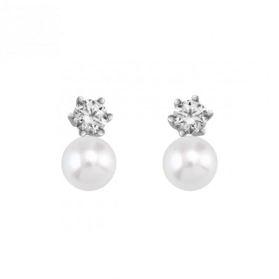 Pendientes de novia de platino con Diamantes y perlas (75B0102P)