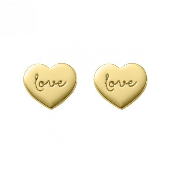 "Pendientes de plata dorada corazón ""love"" (6A8307315)"