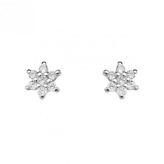 Pendientes flor diamantes y oro blanco 18k (76BPE001)