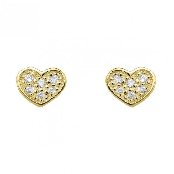 Pendientes Corazón diamantes y oro (76APE007)