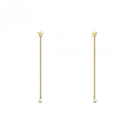 Pendientes largos de plata dorada Perla y Estrella (6A8307301)