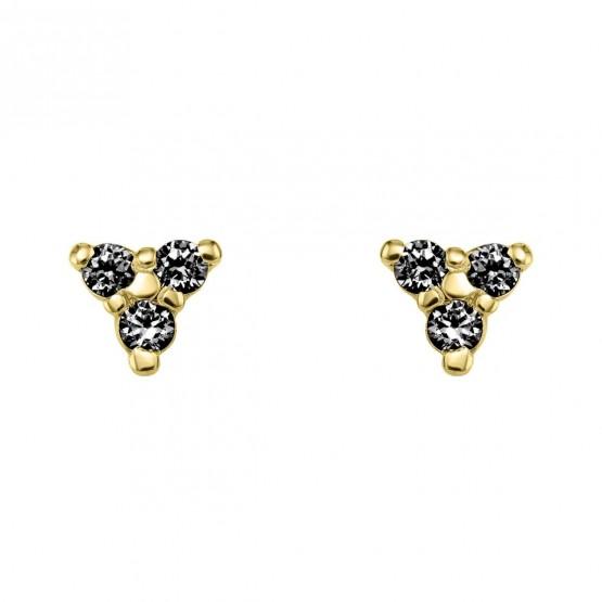 Pendientes oro triángulo con diamantes negros (76APE002DN)