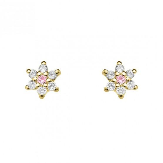 Pendientes oro flor diamantes y zafiros rosas (76APE001ZR)