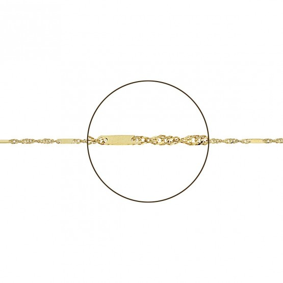 Cadena de oro 18k diseño Singapur con placa (0271022)
