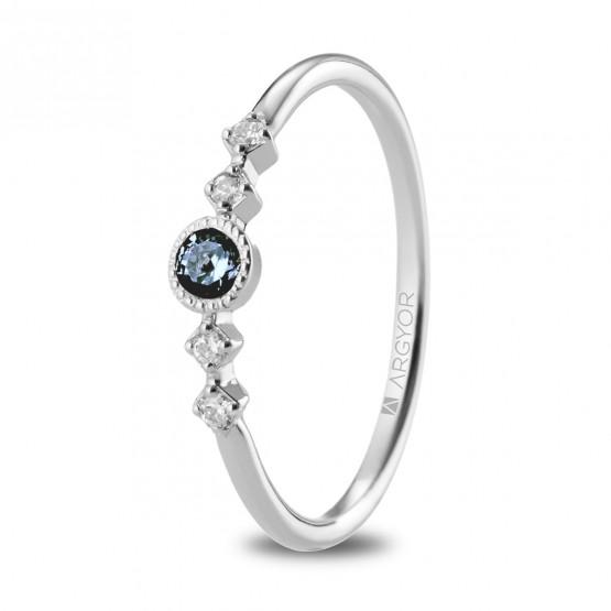 Anillo Zafiro Azul 4 Diamantes (74B0084ZA)