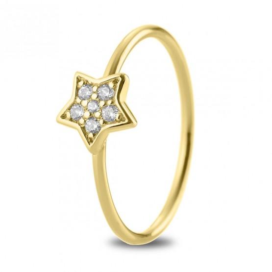 Anillo Estrella diamantes y oro 18k (76AAN005)