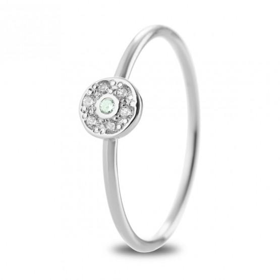 Anillo oro blanco roseta Zafiro verde y diamantes (76BAN003ZV)