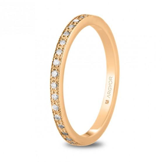 Anillo de oro rosa vuelta entera de diamantes (74R0167)