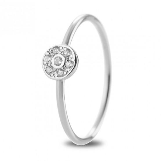 Anillo Roseta de diamantes en oro blanco 18k (76BAN003)