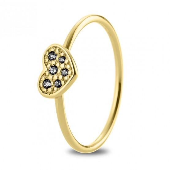 Anillo oro 18k Corazón con diamantes negros (76AAN007DN)