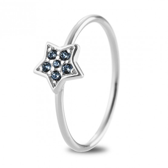 Anillo oro blanco Estrella con Zafiros Azules (76BAN005ZA)
