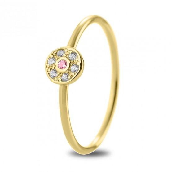 Anillo oro 18K roseta con zafiro rosa y diamantes (76AAN003ZR)