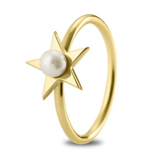 Anillo de plata bañada en oro Estrella con Perla (7A8307302)