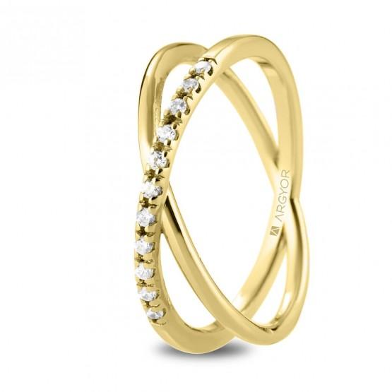 Anillo de diamantes en oro 18k cruzado doble (74A0160)