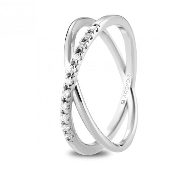 7e9863daae5f Anillo diamantes oro blanco cruzado doble (74B0160)