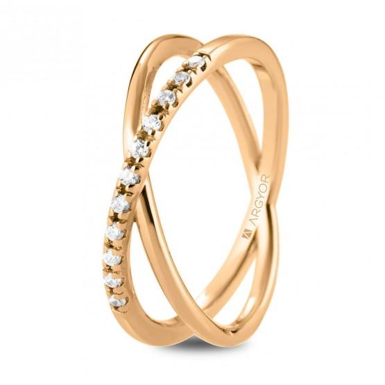 Anillo diamantes oro rosa cruzado doble (74R0160)