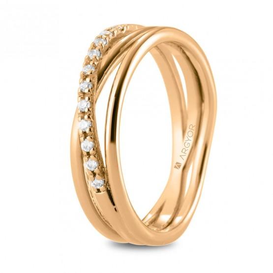 Anillo de diamantes en oro rosa cruzado triple (74R0161)