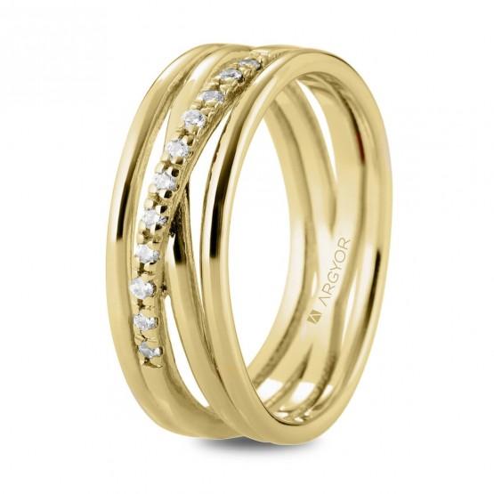 Anillo de diamantes en oro de varios aros (74A0162)