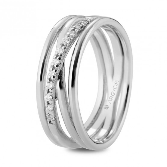 Anillo de diamantes en oro blanco de varios aros (74B0162)
