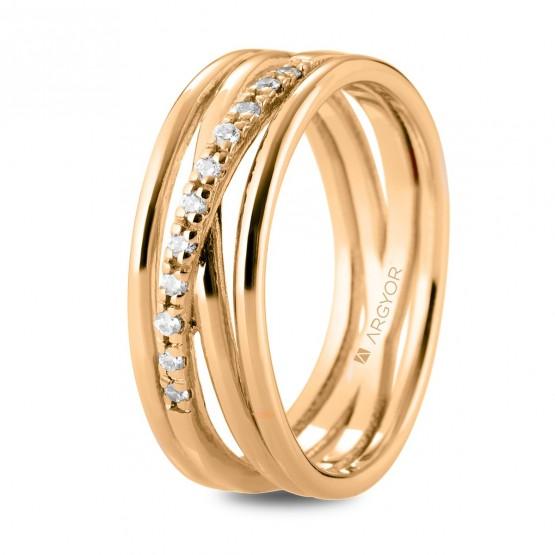 Anillo de diamantes en oro rosa de varios aros (74R0162)