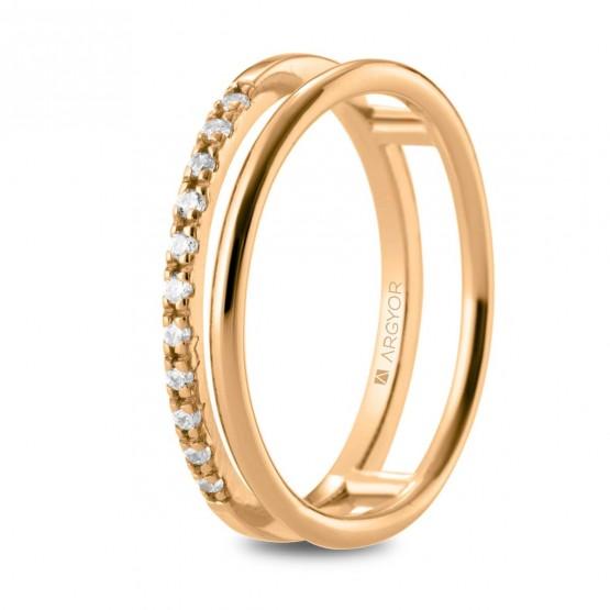 Anillo de diamantes en oro rosa doble aro (74R0163)