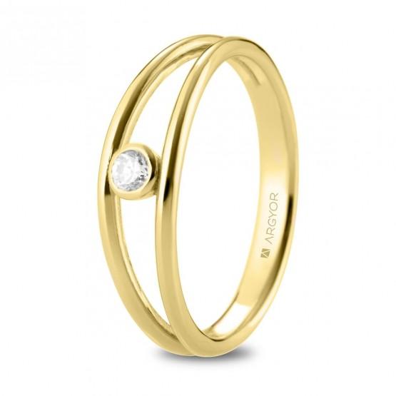 Anillo de diamante en oro y aro dividido (74A0164)