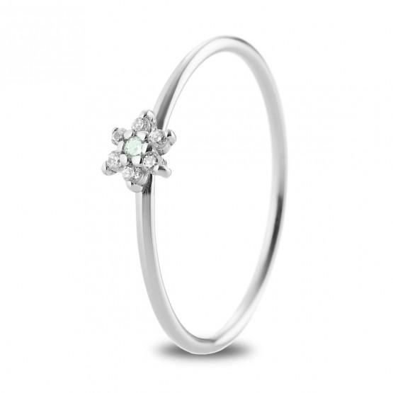 Anillo oro blanco flor con zafiro verde y diamantes (76BAN001ZV)