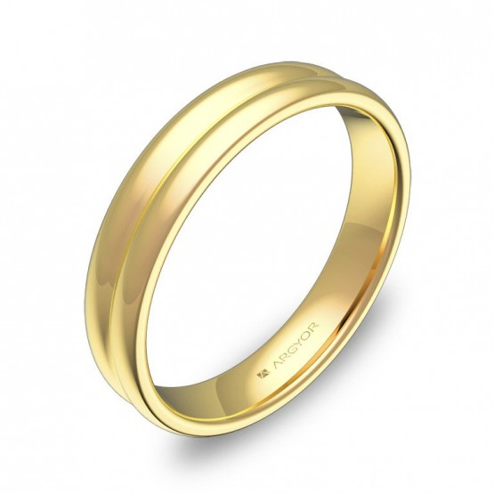 Alianza de boda de oro pulido en forma de doble media caña C0940P00A