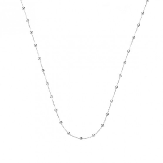 Collar oro blanco de bolas con cadena (0410102B)