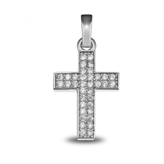 Cruz oro blanco 36 diamantes (75B0022)