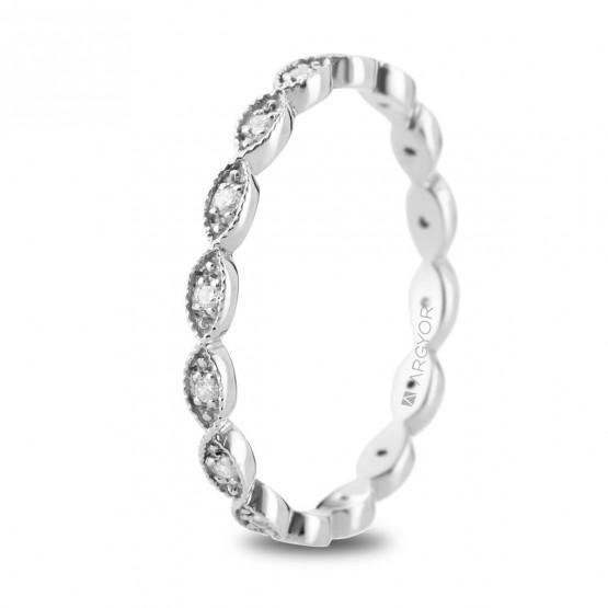 Anillo de platino ovalos y diamantes (74B0168)