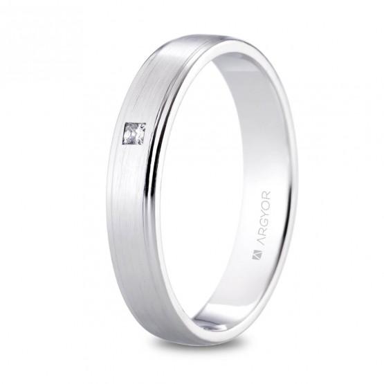 Alianza de platino 4mm con diamante princesa (05901040P)