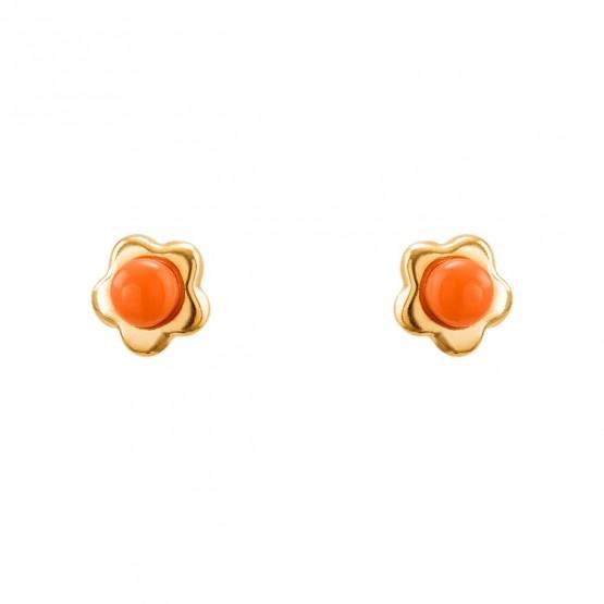 Pendientes de bebé de oro Flor con coral (03260915)