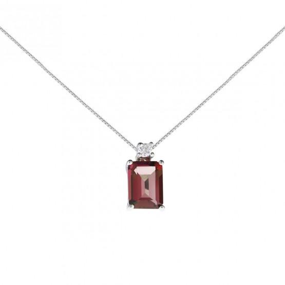 Colgante oro blanco con un rubí rectangular y diamante (0513005R)