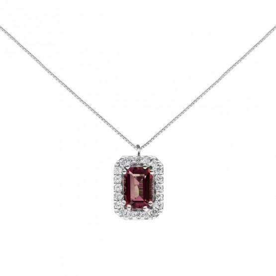 Colgante oro blanco con rubí rectangular y halo de diamantes (0513006R)